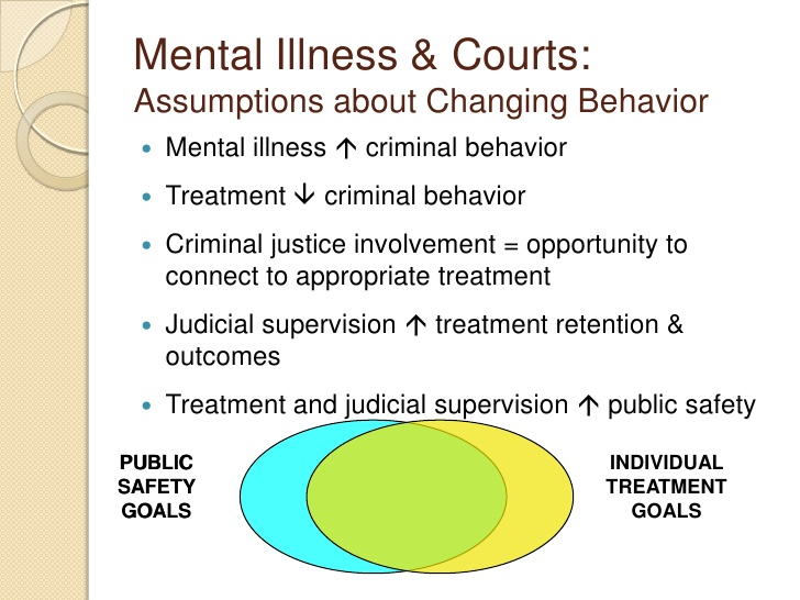 mental health court Background the origin of mental health courts stemmed from situations similar to those preceding the development of drug courts - repeat offenders in need of treatment services.